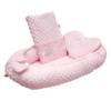 Kép 1/3 - Prémium babafészek párnával és paplannal New Baby - minky anyag, rózsaszín, mintás