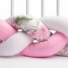 Kép 2/4 - 2in1 Fonott rácsvédő és babafészek egyben, virágokkal, rózsaszín