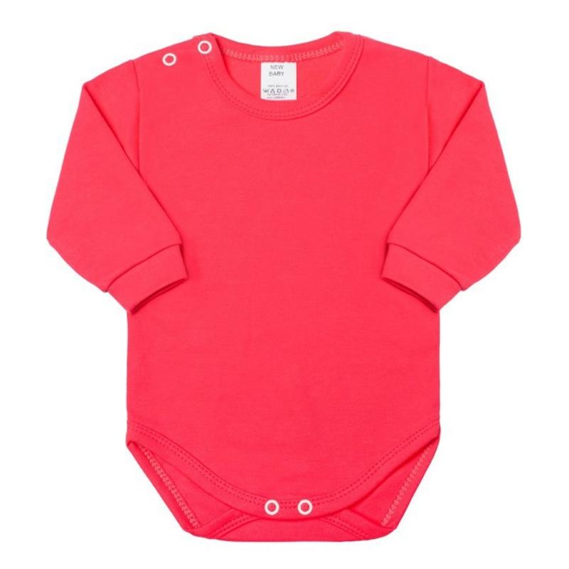 Baba hosszú ujjú body New Baby - sötét rózsaszín