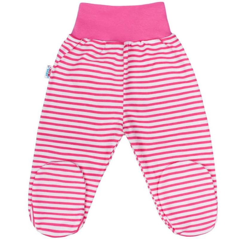 Baba lábfejes nadrág New Baby - Classic, rózsaszín csíkokkal