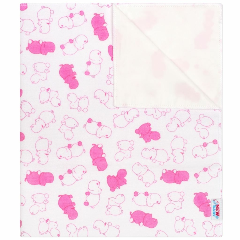 Vízálló flanel alátét New Baby vízilovak rózsaszín