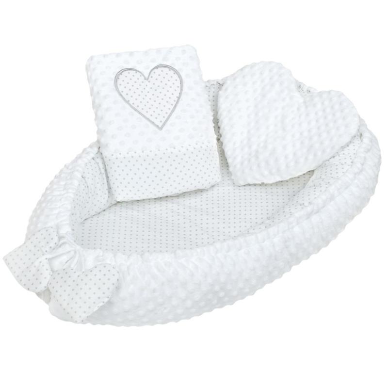 Prémium babafészek párnával és paplannal New Baby - fehér, mintás