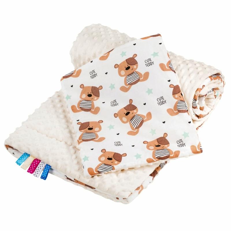 Kétoldalas paplan párna együttes Minky anyag, New Baby teddy bézs