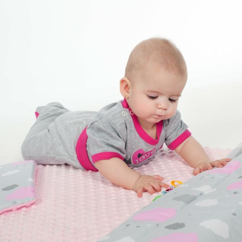 Kétoldalas paplan párna együttes Minky anyag, New Baby teddy szürke