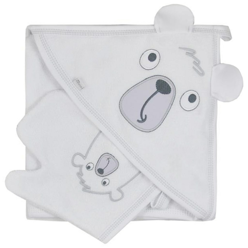 Baba törölköző fürdőkesztyűvel Koala Yogi white