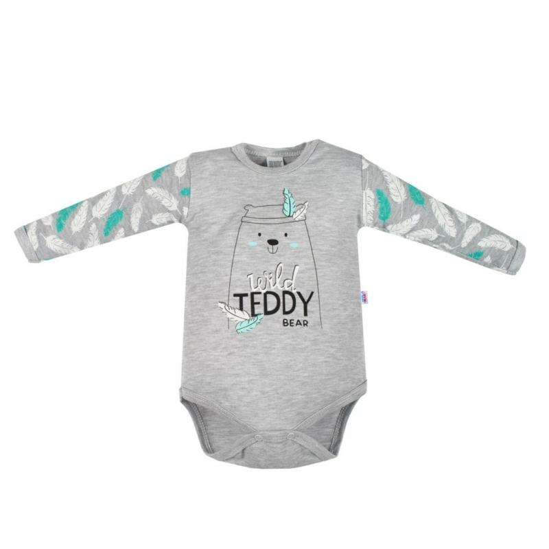 Baba body New Baby - Wild Teddy, szürke