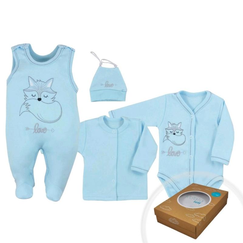 Baba szett Koala - body, rugdalózó, kabát, sapka - kék