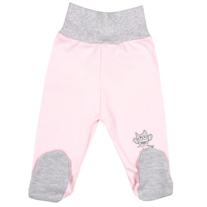 Baba lábfejes nadrág New Baby - Bagoly mintával, rózsaszín