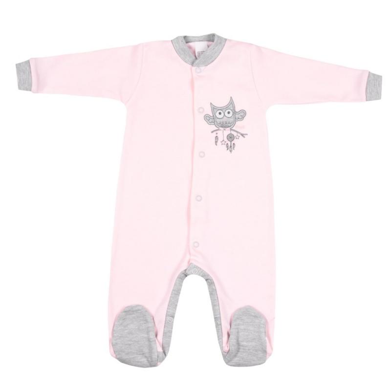 Baba rugdalózó New Baby - Bagoly mintával, rózsaszín