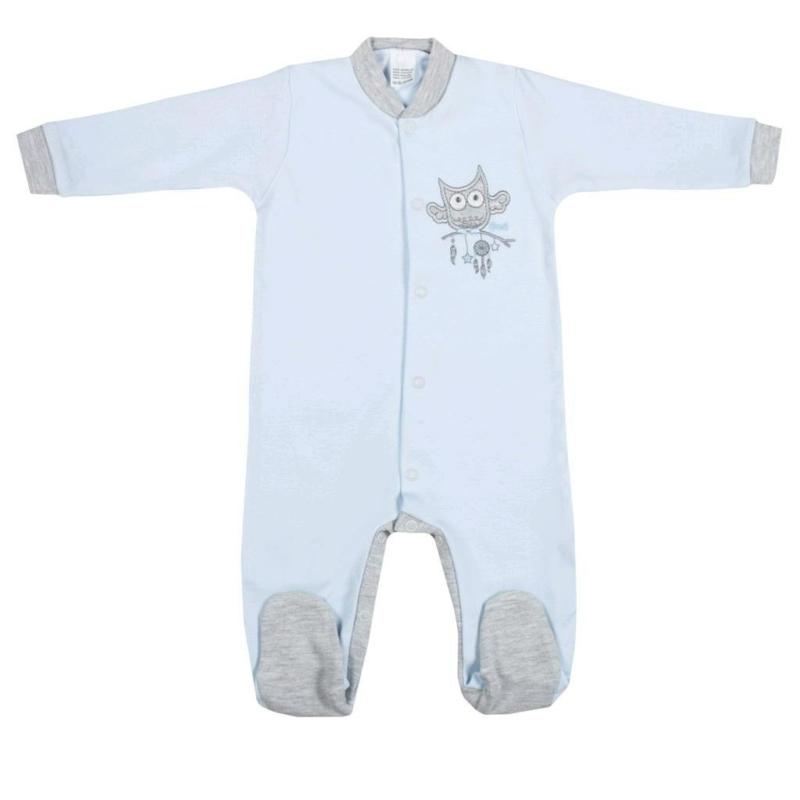 Baba rugdalózó New Baby - Bagoly mintával, kék