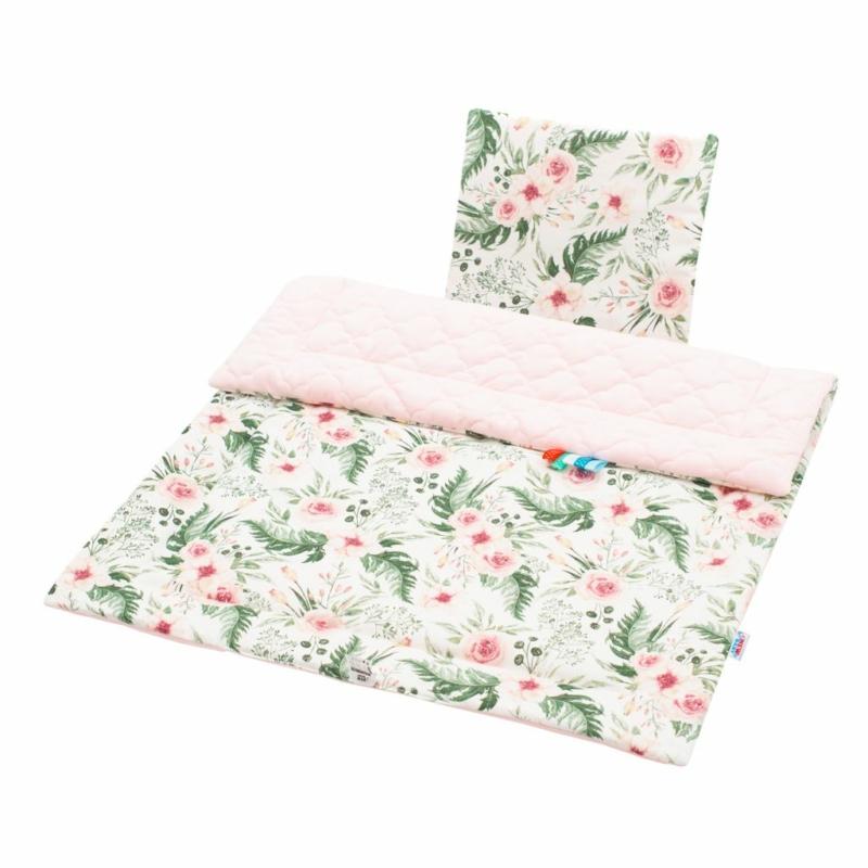 Kétoldalas paplan párna együttes Velvet anyag, New Baby virágos, rózsaszín