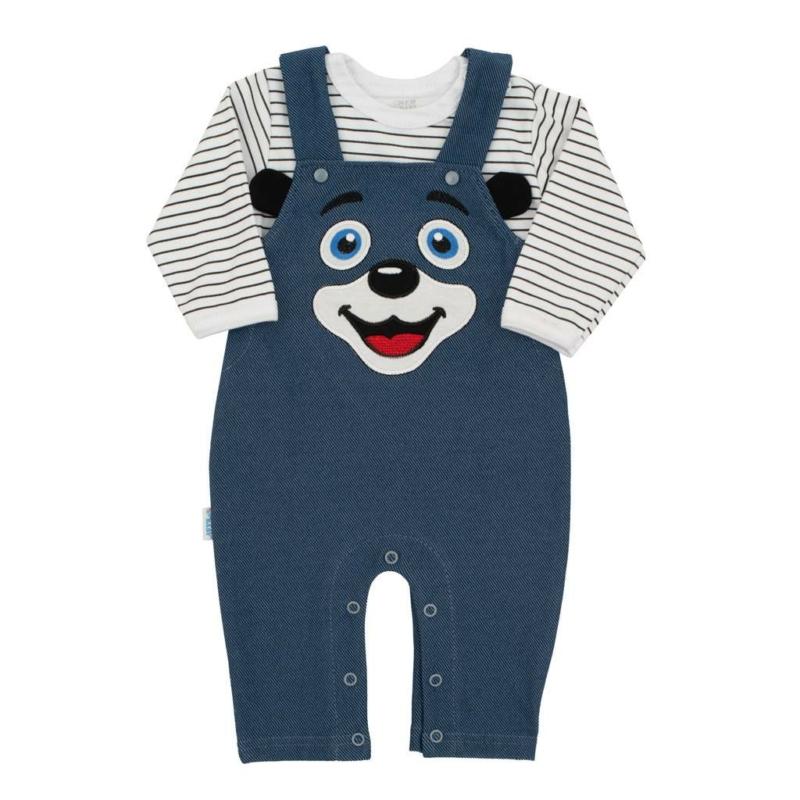 Baba szett New Baby - póló és kantáros nadrág, kék
