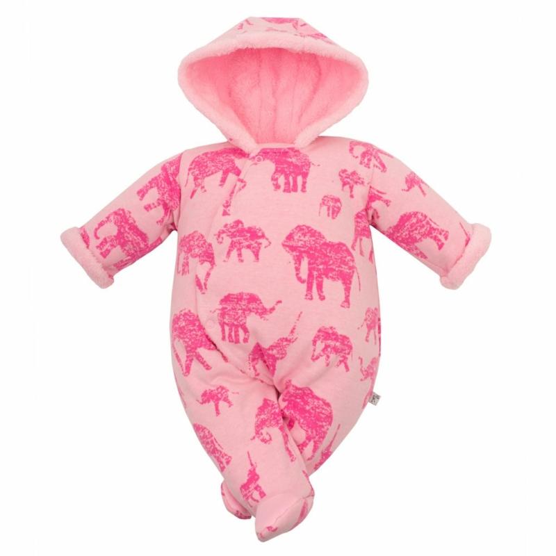 Téli baba overál kapucnival Baby Service - rózsaszín