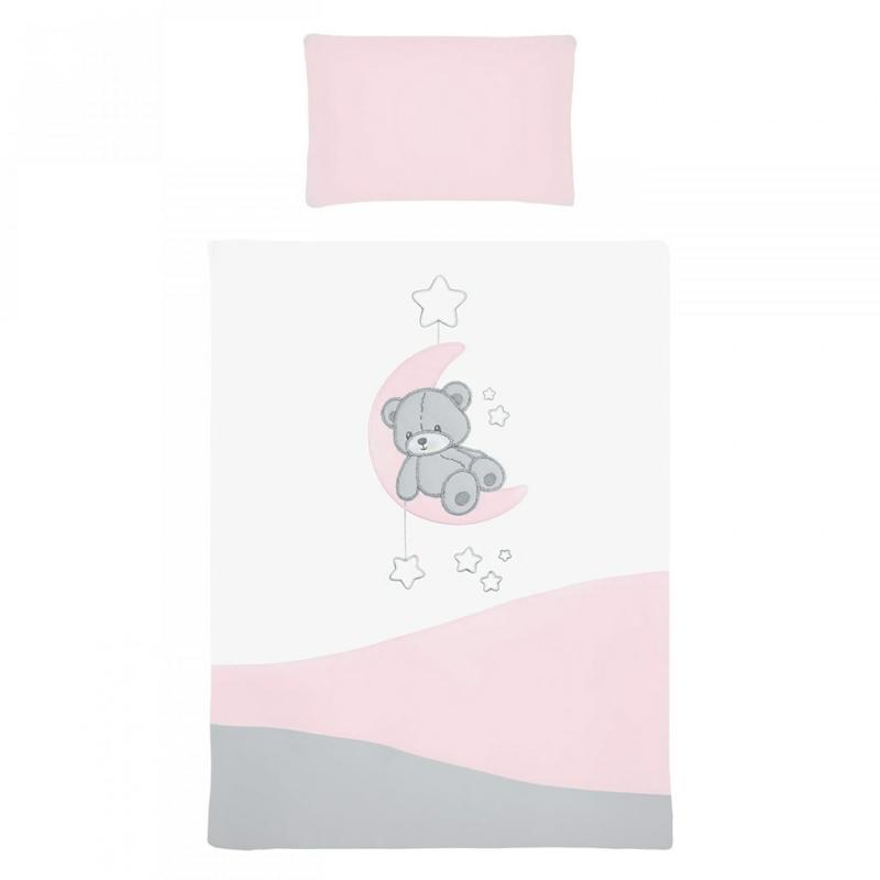 3 részes babaágynemű szett Belisima - macis, 100/135 rózsaszín