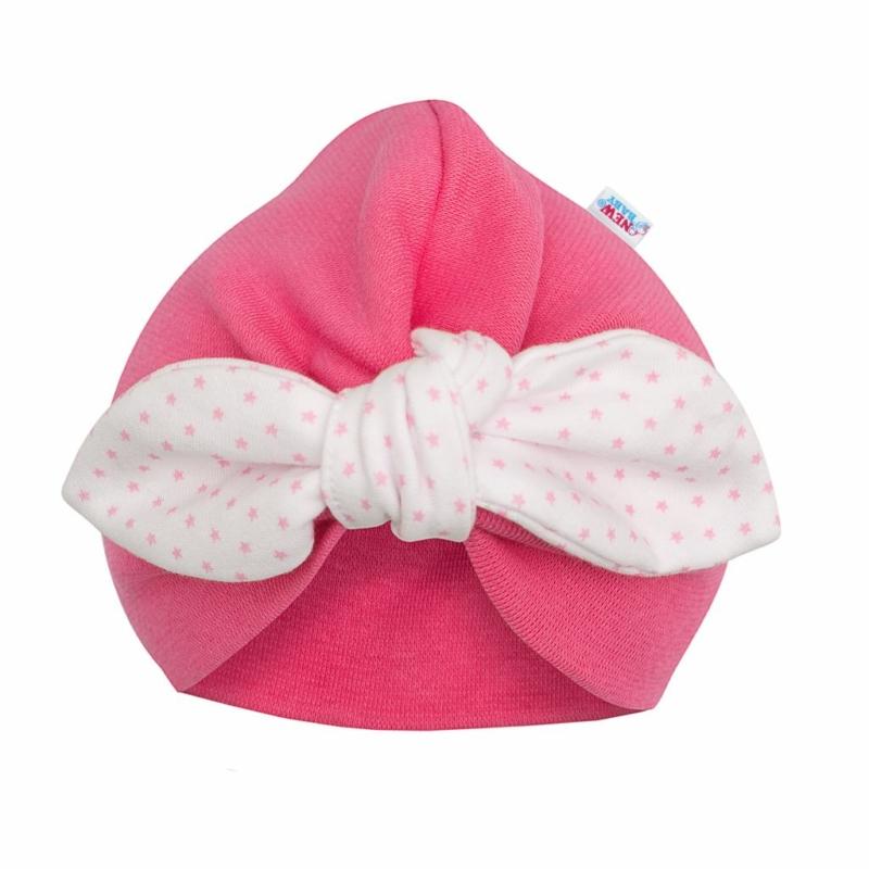 Lány sapka New Baby - rózsaszín, pöttyös