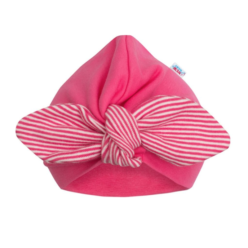 Lány sapka New Baby - rózsaszín, csíkos