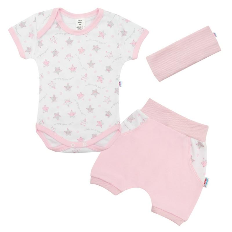 Nyári baba szett New Baby - rövidnadrág, body és fejpánt, rózsaszín