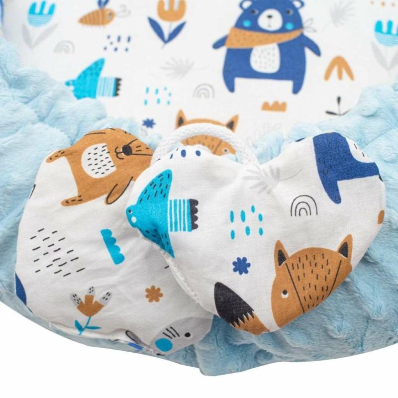 Prémium babafészek párnával és paplannal New Baby - minky anyag, kék