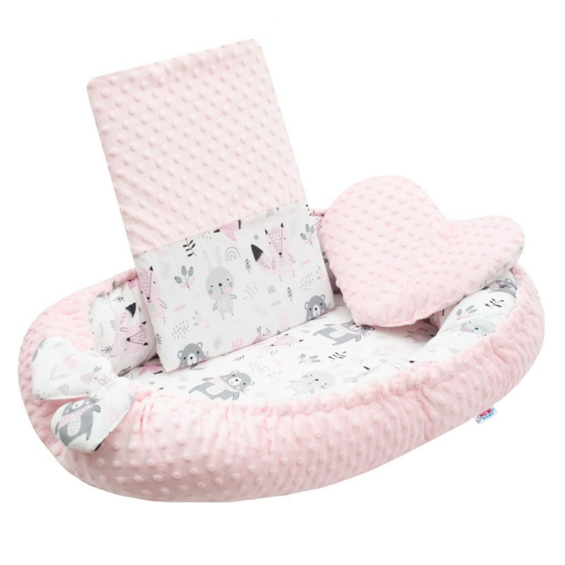 Prémium babafészek párnával és paplannal New Baby - minky anyag, rózsaszín