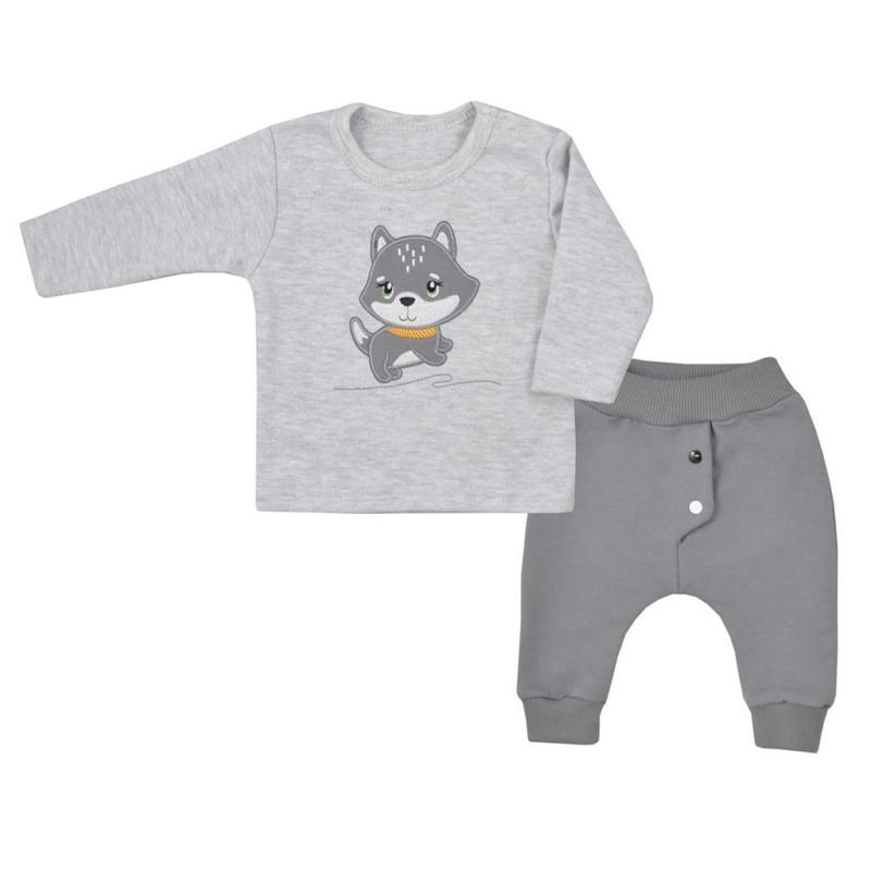 Baba hosszú ujjú póló és nadrág Koala- Szürke, kutyus minta