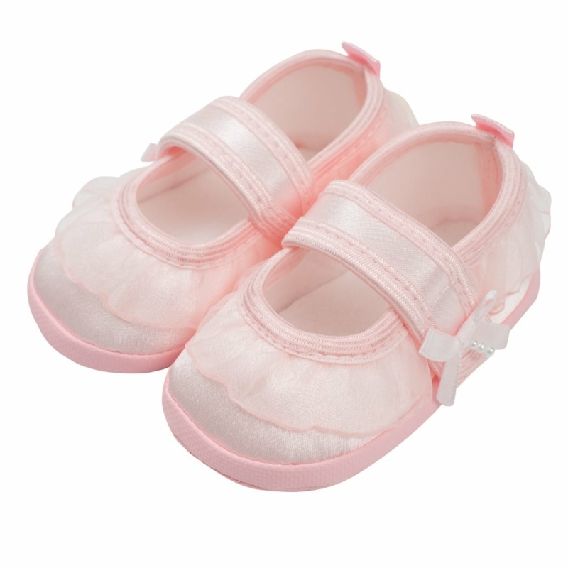 Baba lány cipő New Baby - szatén, rózsaszín