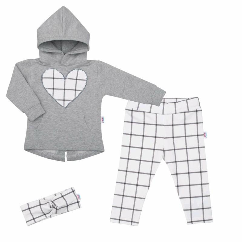 Kislány szett New Baby - nadrág, pulóver és fejpánt, szürke-fehér
