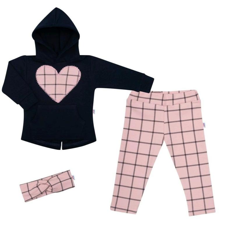 Kislány szett New Baby - nadrág, pulóver és fejpánt, kék-rózsaszín