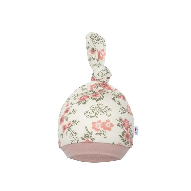 Baba sapka New Baby - virágos, rózsaszín