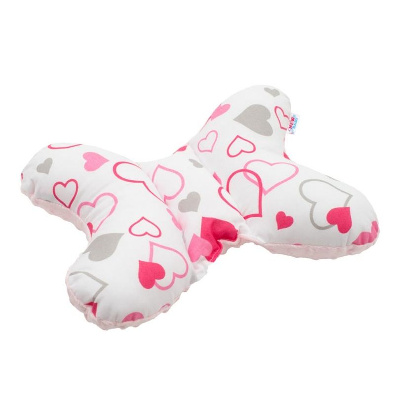 Stabilizáló pillangó párna New Baby rózsaszín szívecskék