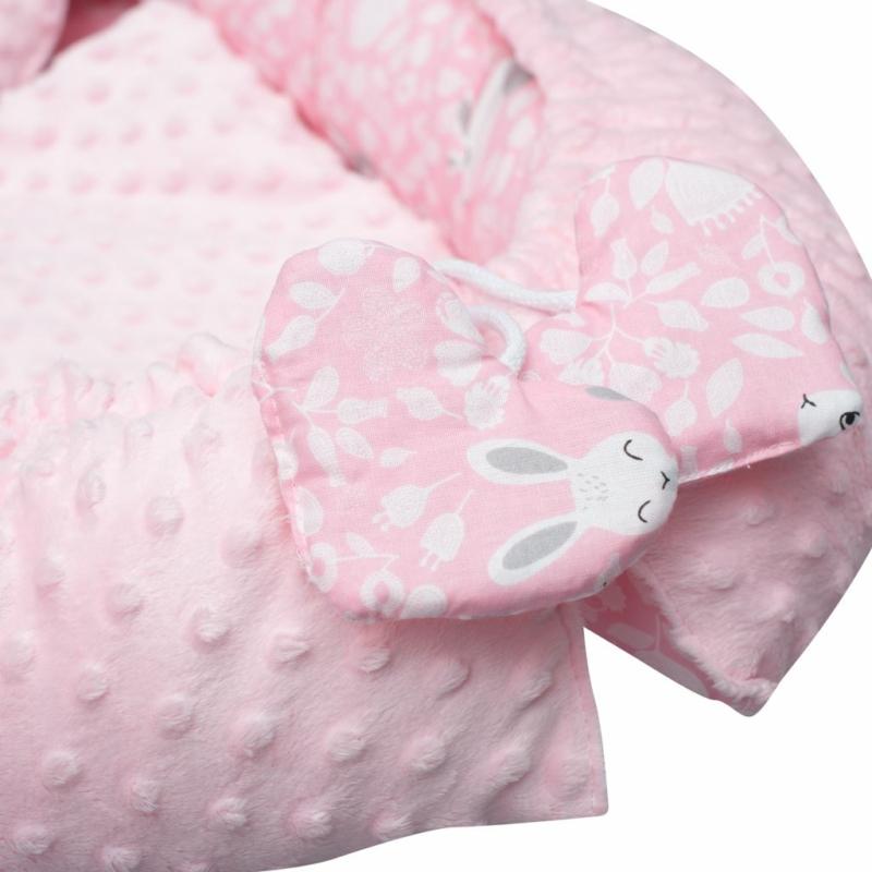 Prémium babafészek párnával és paplannal New Baby - minky anyag, rózsaszín, mintás