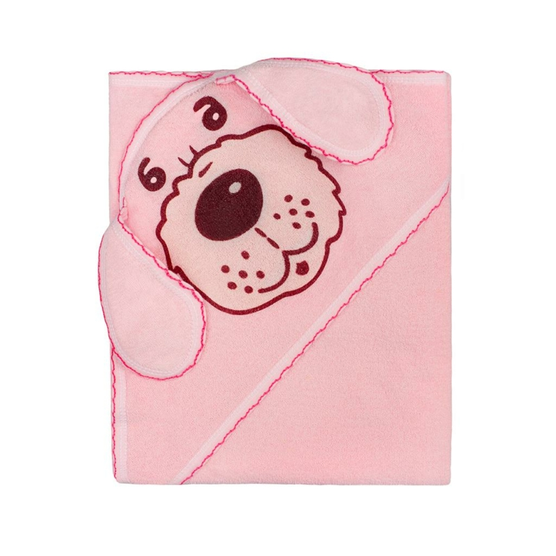 Frottír baba törölköző (kifogó) 80x80 kutya rózsaszín