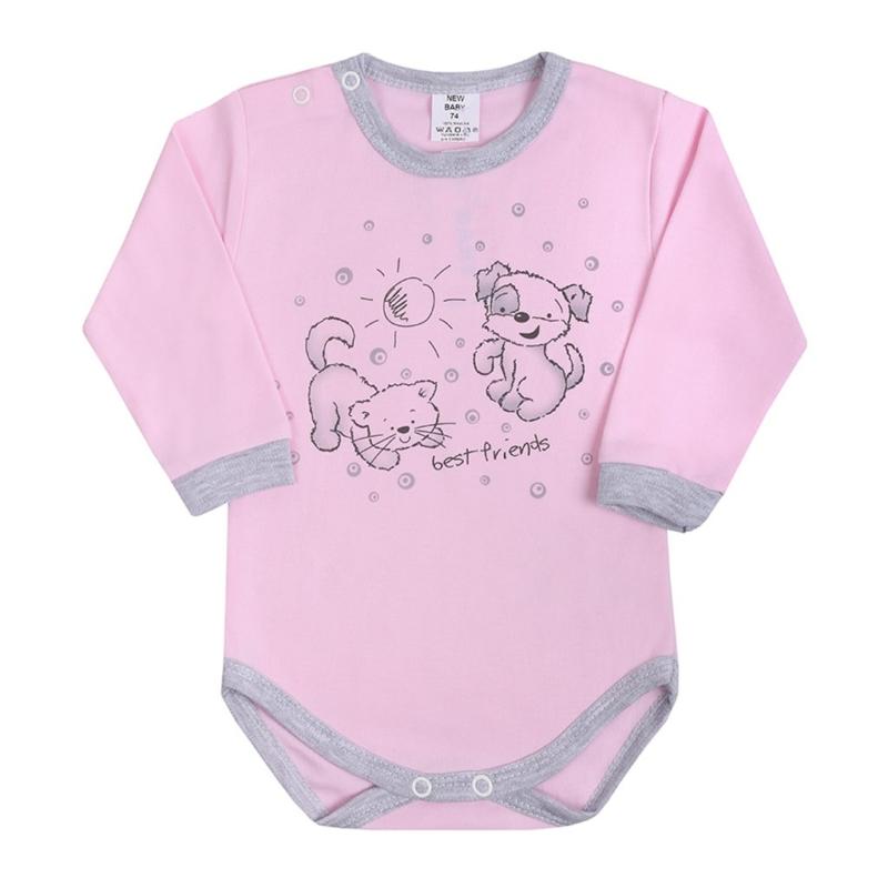 Baba hosszú ujjú body New Baby - Barátok , rózsaszín