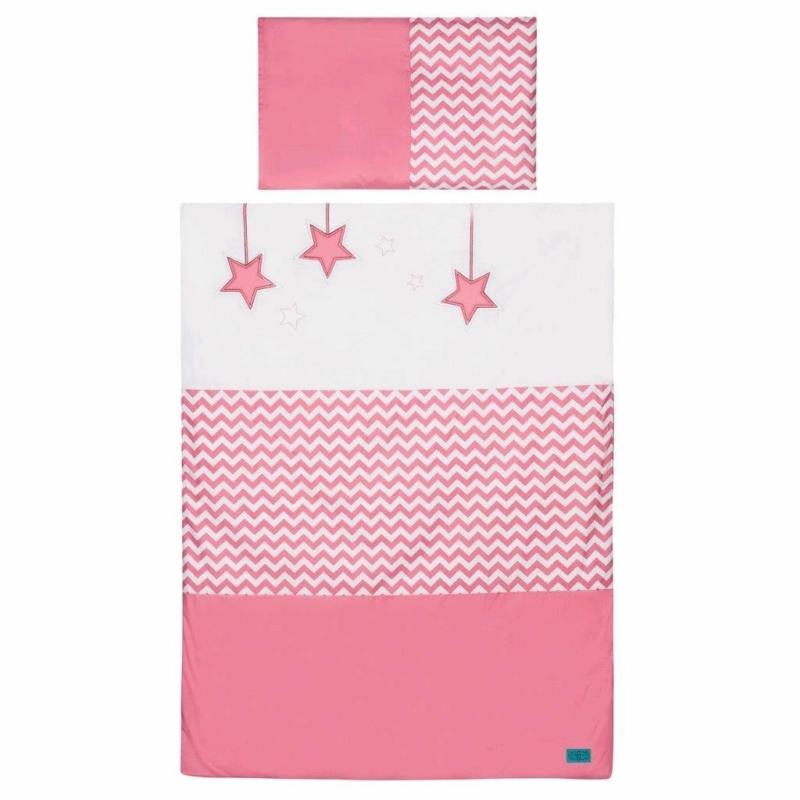 3 részes babaágynemű szett Belisima - csillag minta, 90/120 rózsaszín