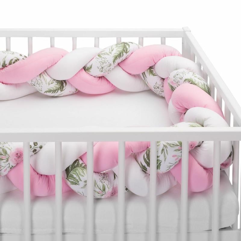Fonott rácsvédő, virágokkal, rózsaszín