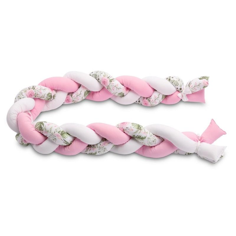 2in1 Fonott rácsvédő és babafészek egyben, virágokkal, rózsaszín
